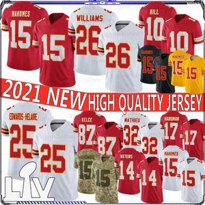 15 Patrick Mahomes 26 Bell 25 Edwards-Helaire 2020 Yeni Futbol Forması 87 Travis Kelce 32 Mathieu 29 Berry 17 Hardman 10 Hill 14 Watkins