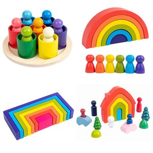 Creative Rainbow Blocks Wooden Toys Kids Geometric Building Blocks House Montessori Educational Stacker Wooden Toys Gifts