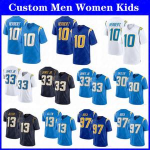 Los.10 Justin Herbert 33 Derwin James AngelesCaricabatterie per bambini da donna personalizzateJersey di calcio 30 Austin Ekeler Joey Bosa Allen