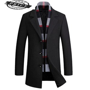 Stylish Men Wool Detachable Coats Scarf Jackets Wool Blend Business Jacket Slim Single Breasted Comfot PeaCoat 22290
