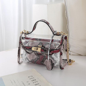 2020 new online celebrity transparent godonie Bao Korean style fashion all-match snakeskin tote with pouch