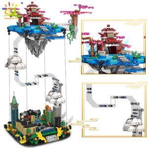 huiqibao 1116pcs 빌어 먹을 궁전 스트리트 뷰 서스펜션 빌딩 블록 Syseinggrity 기술 도시의 하늘 조명 벽돌 장난감 X0102