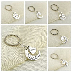 I Love You To the moon and back Keychain Valentine Christmas New Year Family Member Gifts Metal Charms Bag Key Holder Pendants Toys E112702