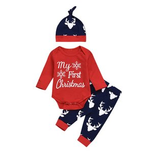Fashion Boys Clothes Newborn Infant Baby Christmas Letter Snowflake Romper Deer Pants Xmas Outfits Roupa Infantil#guahao