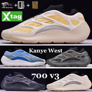 Nueva arcilla marrón 700 v3 Kanye West Runner Safflower Azareth Azael Alvah zapatos de correr reflectante brillo en las zapatillas de deporte de baloncesto oscuro con caja