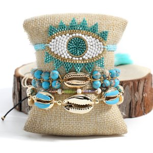 Rttooas MIYUKI Turkish Evil Eye Bracelets Women Summer Shell Charm Bracelet Pulseras Mujer Mode 2020 Fashion Jewelry Y1119