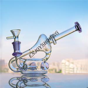 Lila Becherglas-Bongs mit Triple Bällen Bongs Recycler DAB-Rig 14 mm Gelenkschüssel Glas Wasserbongs Freies Verschiffen