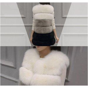 Schinteon Women Fur Vest Waistcoat Gilet Coats Faux Fox Fur White Grey Black Spliced Clothing Top Quality Fast Shipping F jllDhR