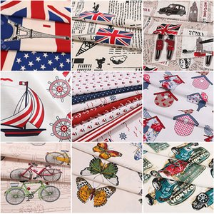 150 cm thick fine oilcloth, printed with American flag, polyester cotton per meter, sofa curtain