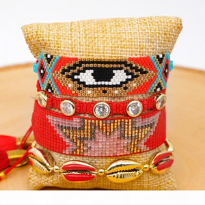 GRAPES Red Evil Eye Bracelet MIYUKI Delica Bracelet Fashion Insta Jewelry Pulsera Crystal For Women Tassel Handcraft Colores