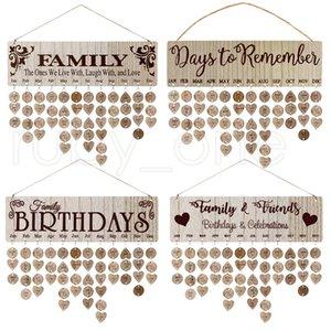 Anneler için En İyi Hediyeler Ahşap Aile Doğum Günü Hatırlatma Takvim Kurulu DIY Yıldönümü Izci Plak Duvar Etiketleri Ile Asılı RRA4013