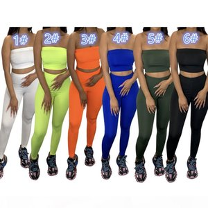 Women Ultra Stretchy Strapless Tracksuits Solid Color Skinny Two Piece pants Sexy Crop Top 2pcs Sportswear