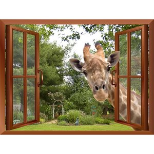 3D Effect Window View Curious Giraffe Sticking its head into window Fake Windows Wall Stickers Removable Wall Decal 201202