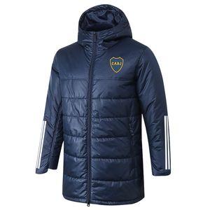 2020 2021 Boca Juniors Coton Soccer Coffre Down Jacket Pull Sport Winter Coat TrackSuit Fermeture à glissière Soccer Coffre à capuchon Hommes Vestes