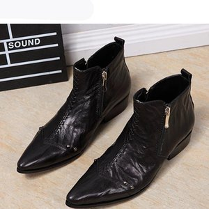Italy Type Boots Men Fashion Dress Leather Boots AnkleMen Zip Pointed Toe Red Party and Wedding Botas Hombre, EU38-46