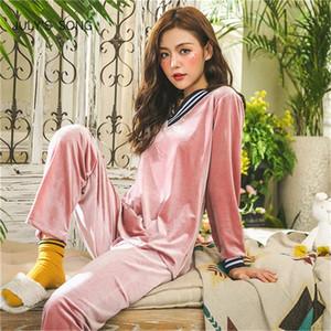 Temmuz Şarkı Kış Sıcak Pijama Seti Kadınlar Uyku Seti Derin Altın Kadife Pijama Pijama Uzun Kollu Homewear 2 Peice Gecelikler 201106