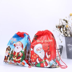 Santa Claus Drawstring Big Backpack Christmas Gift Candy Bag Kids New Year Banquet Stockings Gifts Holders Bag Home Xmas Party