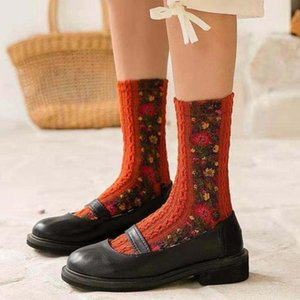 Women Vintage Cotton Socks girls Retro Winter Thermal Warm Boot Socks Fashion Ethnic Style Flower Pattern Soft