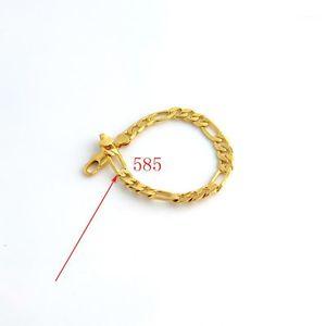 Solid Stamp 585 Hallmarked 18 k Yellow Fine Gold Gf Figaro Chain Link Bracelet 8mm Italian Link 210mm men's or women's1