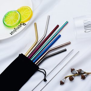6*215mm 304 Stainless Steel Straw Bent And Straight Reusable Straw Drinking Straws Metal Straw Cleaner Brush Bar Drinking Tool BWD2344