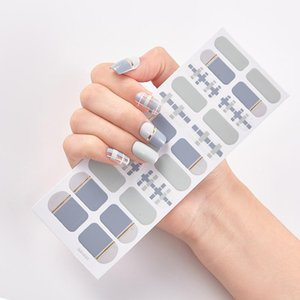 22 Tips Sheet Solid Color And Striped Manicure Self Adhesive Nail Sticker Nail Stickers Designer Minimalist Design Strips