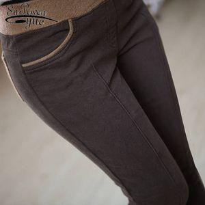 Winter Warm Casual Women Cotton Pants Stretch High Elastic Waist Ladies Thick Panelled Pencil Pants Plus Size S-4XL 6517 50 201016