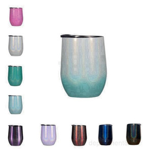 Glitter Wine Tumbler with Lids Water Botter Stainless Steel Rainbow Egg Shaped Mugs Double Layer 12oz FREE FAST SEA SHIPPING OWB2517
