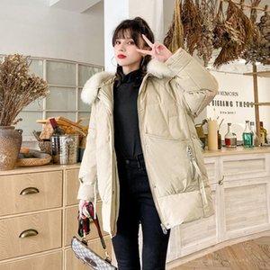 DMLFZMY 2020 NUEVO ABAJO ABAJO Femenino Versión coreana Cuello de piel grande Pequeña moda caliente estilo caliente1
