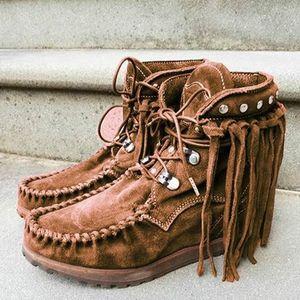 2020 Kadınlar Bilek Boots Büyük Boyut Flats Ayakkabı Patik Gladyatör Vintage Sahte Süet Yuvarlak Burun Lace Up Ayakkabı Püsküller Botaş Mujer