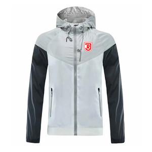 jahn regensburg Men's Football Training Jacket Hooded Wind Resistant Jacket Fashion Trend Windbreaker Zipper Football Autumn Jacket