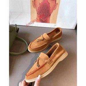 Designer de luxe Summer Charms Walk casual Shoes Women casual shoes Men Suede Calf Skin Muller shoes Brand classic Walking Flats