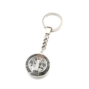 25pcs lots Keychain 3D Benedict Cross Round Alloy Religion Charms Pendants Key Ring Travel Protection DIY Jewelry A-553f