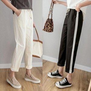 Women Ankle Length Pants Cotton Linen Harem Pants Elastic Waist Spring Summer Trousers Casual Side Striped Pencil Black