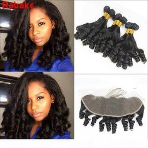 Funmi Funmi Bouncy Burly Virgy Cheveux Bundles avec une coiffure frontale 8A Grade brute Indian Non transformé Human Cheveux Weave Bundles avec 13x4 Frontal