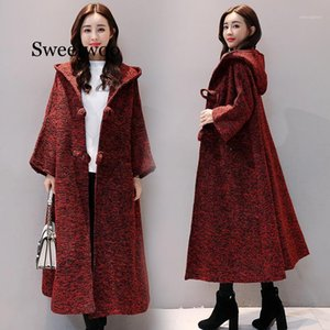 Femmes Sweaters Automne Fleece à capuche Bouton à capuche Soft Veste à manches longues Tops tricotés Cardigan Épaissir Long manteau Kaki Red Gray1