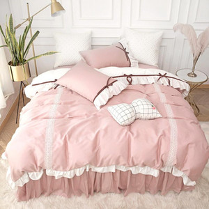 Luxury Princess style 100% cotton Bedding set ruffles Duvet cover bedskirt Pillowcases 4pcs for girls bed set