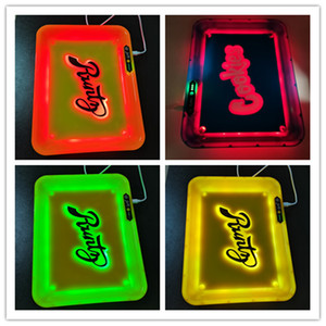 LED Glow Rolling Trays Cookies Runtz Backwoods Glow Tray USB rechargeable Dry Herb Flower Trays With Box Bag Gift Package