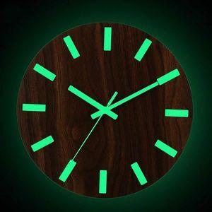 Digital Number Wall Clock 3d Luminous Silent Simple Quartz Hanging Clocks 12 Inch Wood Minimalist Watch Home Decor Glow Dark