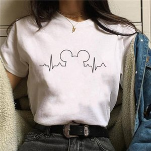 T Shirt Women 2020 Suitable Size Harajuku Tops Summer Tops Graphic Tees Women Mouse Heartbeat Kawaii T-shirt1