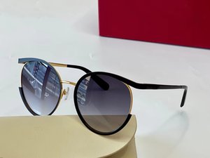 상자 여성 라운드 선글라스 165s 매트 블랙 골드 프레임 회색 음영 태양 안경 패션 선글라스 최고 품질