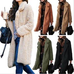 2021 otoño e invierno chaqueta de algodón damas, europeo y americano, cabello de cordero casual largo