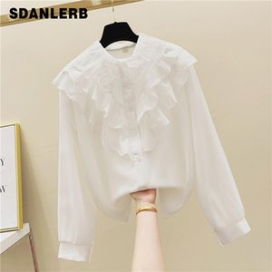 Shirts Blouses Women Fashion Casual Tops Female Lace Doll Collar White Loose Long Sleeve Blouse Style Shirt Simple Top