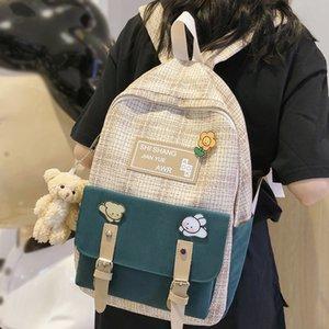 Designer-Student Female Linen Cute Women Fashion School Bag Harajuku Girl Kawaii Backpack Canvas Plaid Lady Bags Book Luxury New