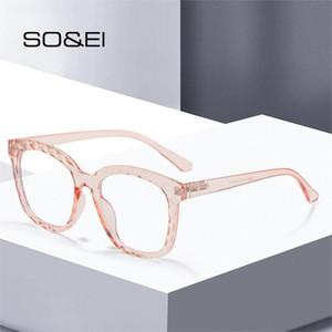 Soei Fashion Square Multi-Cut Crystal Mujeres Gafas ópticas Marco Clear Anti-Blu-Ray Gafas Hombres Hinciones de primavera Gafas de computadora