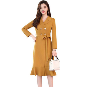 England Style Thin Trench Coats Women 2020 Fashion Elegant Long Sleeve Female Windbreaker With Belt For Casual Outwear Top R643