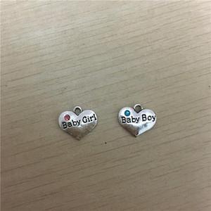 "Bulk Charm Pendants Heart Antique Silver Message""Baby Boy"" ""Baby Girl"" Carved Skyblue Rhinestone 16.5x14.5mm,300Pcs1"