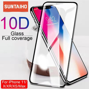 Suntaiho 10D protective glass for iPhone X XS 6 6S 7 8 plus glass screen protector for iPhone 11 ProMAX XR SE2 screen protection