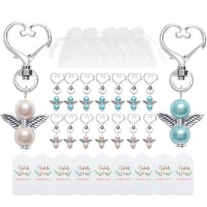 Angel Favour Keychains Merci tags Sacs-cadeaux Sacs-cadeaux Retour Précompense Baby Douche Douche Bridal Douche Mariage Cadeaux JK2101XB