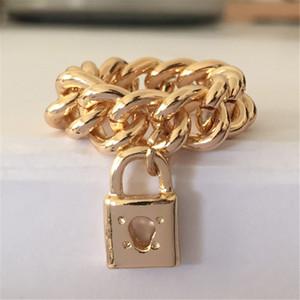 2020 Новый хип-хоп кольцо цвета золота Толстые цепи с замком Подвеска Кольца для женщин и мужчин Лучший подарок Korean Style Chain Ring