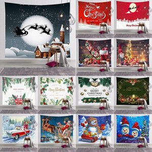 Christmas decoration tapestry home bedroom wall hanging cartoon Santa Claus print tablecloth yoga mat beach towel party backdrop GWC2898